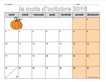 calendrier 2016-2017 (French monthly calendars August 2016