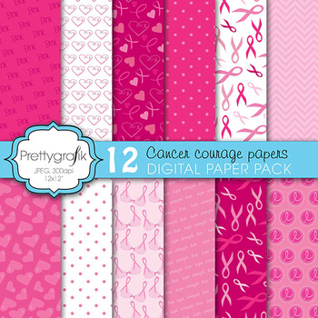 cancer ribbon digital paper, commercial use, scrapbook pap