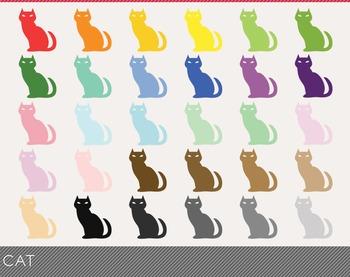 cat Digital Clipart, cat Graphics, cat PNG, Rainbow cat Di