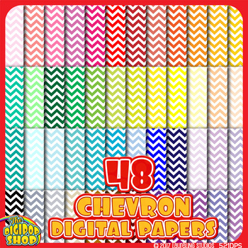 chevron digital paper backgrounds in 48 colors