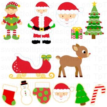 christmas clip art - christmas clipart - santa sleigh elf