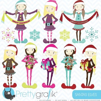 christmas elves clipart commercial use, vector graphics - CL420