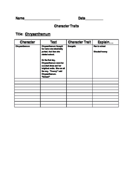 chrysanthemum and character trait lesson