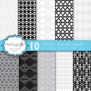classic damask digital paper, commercial use, scrapbook pa