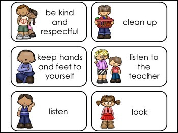 Classroom Rules Picture Word Flash Cards.