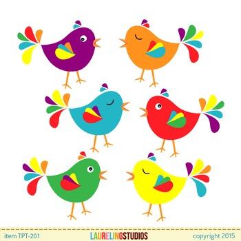 clip art birds - cute colorful bird .png file clipart