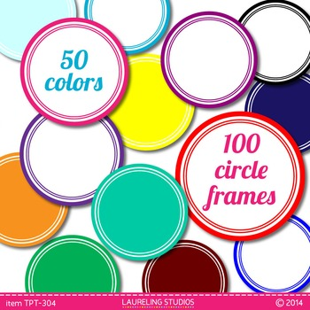 digital clip art frames - 100 round .png frames in 50 colo