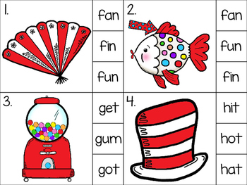 clip cards_cat in the hat theme: cvc word work