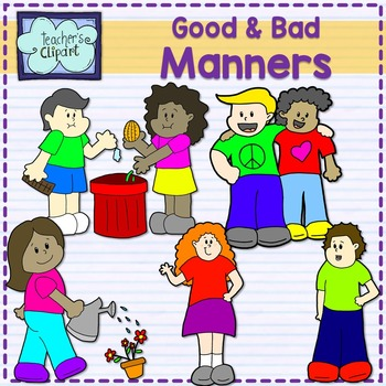 Good and bad manners {multicultural kids} clip art