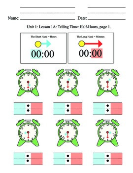 Telling Time Unit 2, half hours, elementary, SPED, special