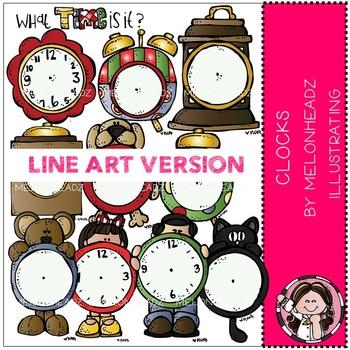 Melonheadz: Clocks clip art - LINE ART