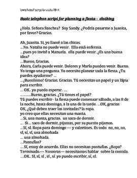 Spanish clothing activity 2 audio only  script included lo