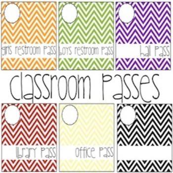 colorful chevron classroom passes