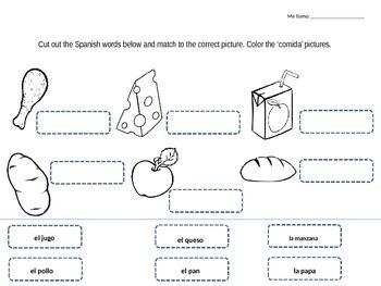 comida food vocabulary spanish cut and paste activity