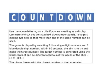countdown game numbers