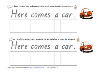 cut and paste sentence match independent literacy activity