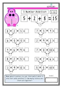 cute hippo 3 number addition differentiation