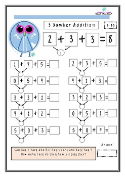 cute owl 3 number addition differentiation