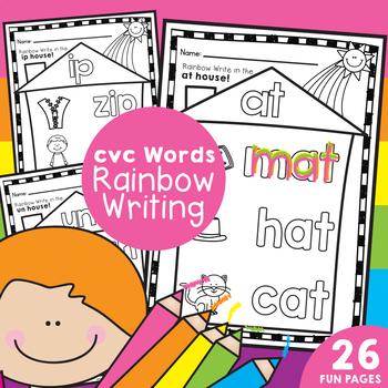 cvc Words / Word Families -  Rainbow Writing