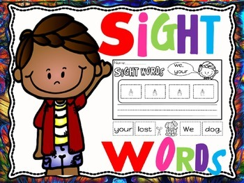 sight words cut and paste sentences