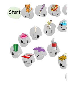 cvc words board game