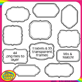 digital clip art frame set - layerable frames and labels