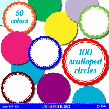 digital clip art frames - round frames with scalloped edge