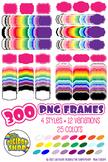 digital frame bundle// 300 clipart frames .png, 24 colors,