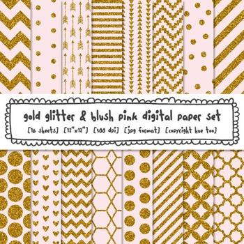Digital Glitter Texture Printable Backgrounds, Gold Glitte