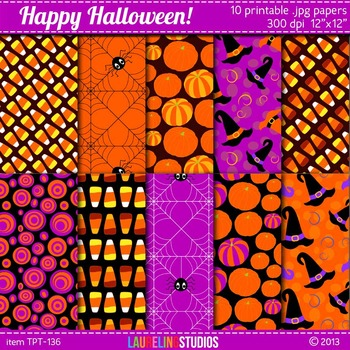 digital paper for Halloween with candy corn, pumpkins, spi