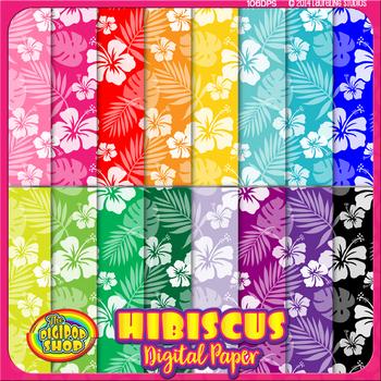digital paper - hibiscus Hawaiian print paper