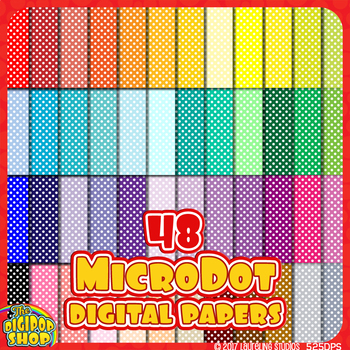 digital paper - printable mini polka dot paper in 48 colors