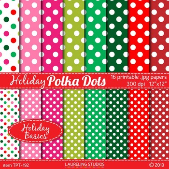 digital paper with polka dots in holiday red, green and pi