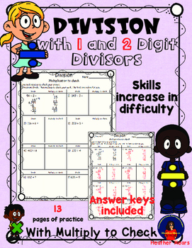 division with 1 and 2 digit divisors multiply to check