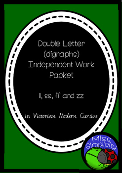 double letter ZZ FF SS LL NDEPENDENT phonics pack  VIC MOD
