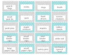 drawer labels for school supplies