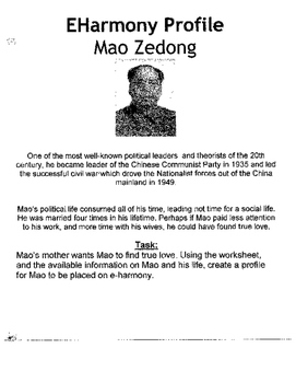 e-harmony for Mao Ze Dong: Who wants to Date Mao??