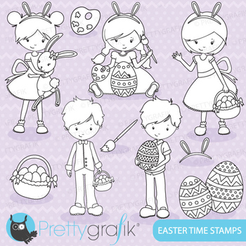 easter kids stamps commercial use, vector graphics, images