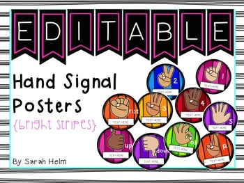 Hand Signal Posters {bright stripes}