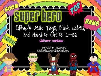editable Super Hero Desk Tags, Labels, & Number Circles: g