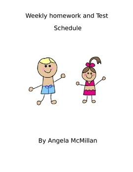 editable beach themed homework and test schedule
