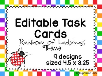 editable task cards_rainbow of ladybugs theme