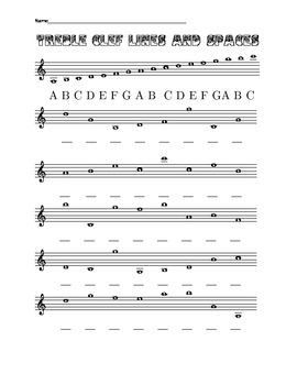 eight worksheets on treble and bass clef lines and spaces
