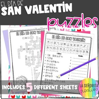 el Día de San Valentín Vocab Puzzles (Valentine's Day Word