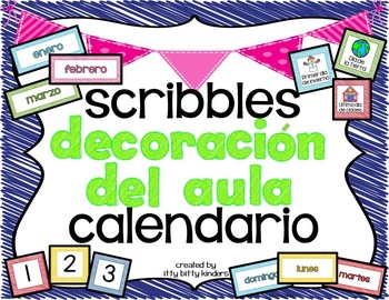 el calendario: decoración del aula scribbles
