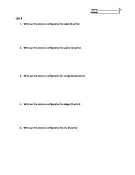 electron configuration quiz (quiz 8)