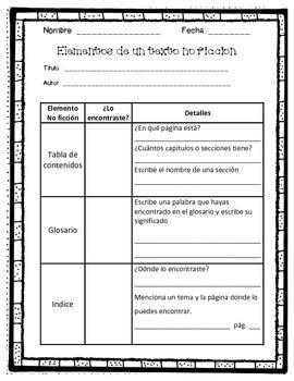 elementos de un texto no ficcion / nonfiction features sca