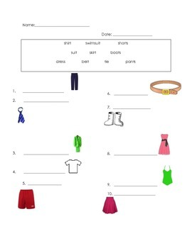 ell spelling picture vocabulary clothes test