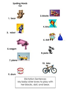 ell spelling picture vocabulary list TOYS