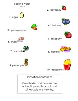 ell spelling picture vocabulary list foods 3